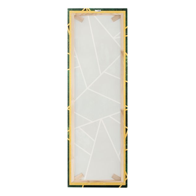 Leinwandbild Gold - Goldene Geometrie - Dunkles Türkis - Hochformat 1:3