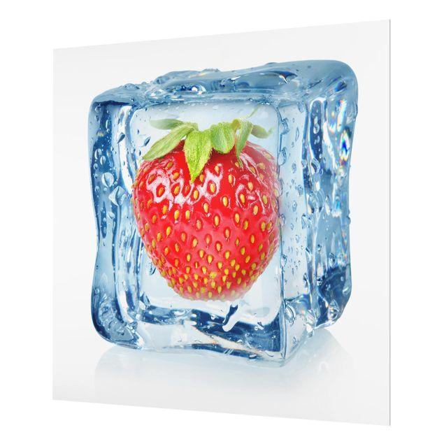 Glas Spritzschutz - Erdbeere im Eiswürfel - Quadrat - 1:1