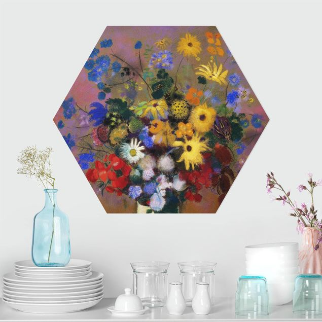 Hexagon Bild Forex - Odilon Redon - Blumen in einer Vase