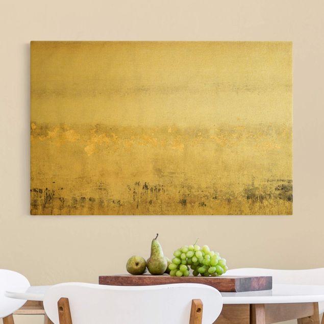 Leinwandbild Gold - Goldene Farbfelder I - Querformat 3:2