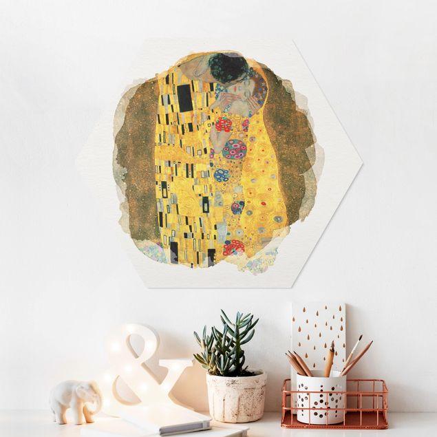 Hexagon Bild Forex - Wasserfarben - Gustav Klimt - Der Kuss