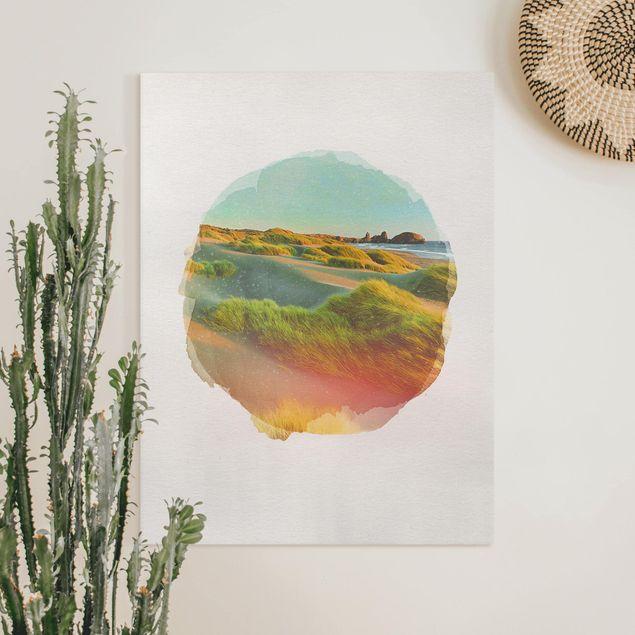 Leinwandbild - Wasserfarben - Dünen und Gräser am Meer - Hochformat 4:3