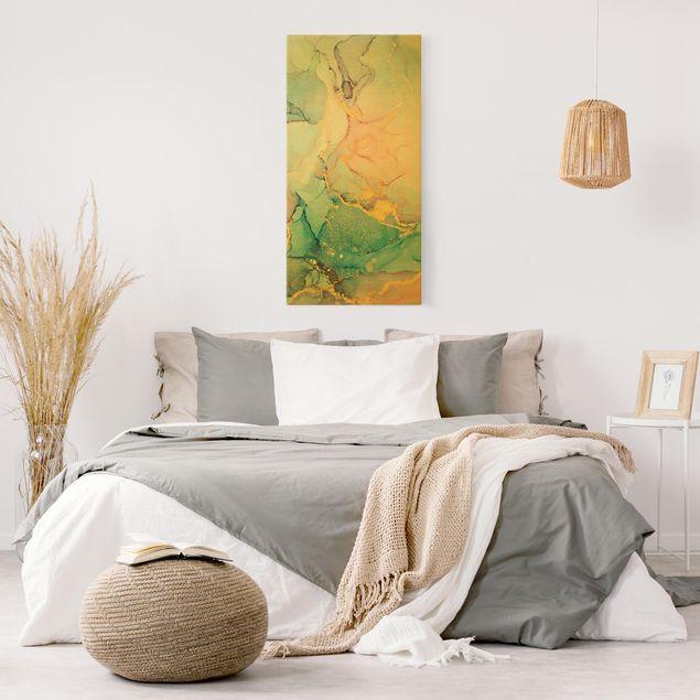 Leinwandbild Gold - Aquarell Pastell Bunt mit Gold - Hochformat 1:2