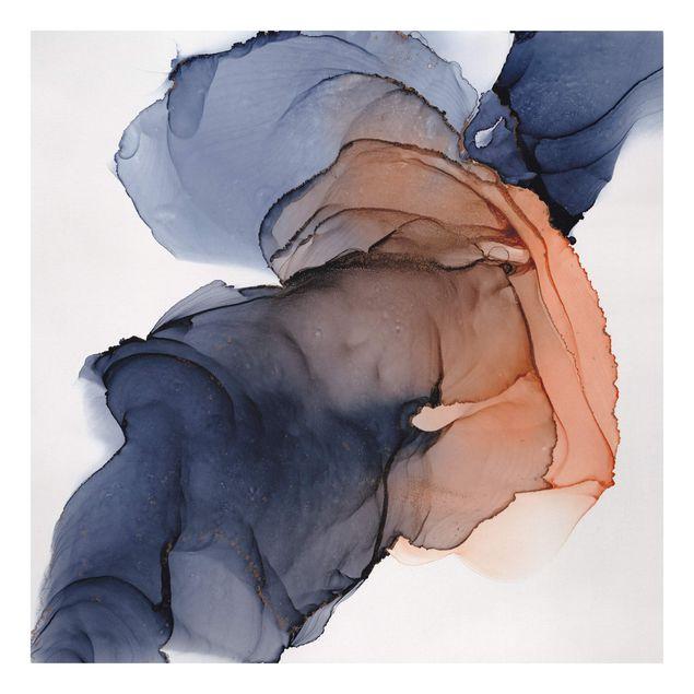 Leinwandbild - Ozeantropfen Blau-Orange mit Gold - Quadrat 1:1