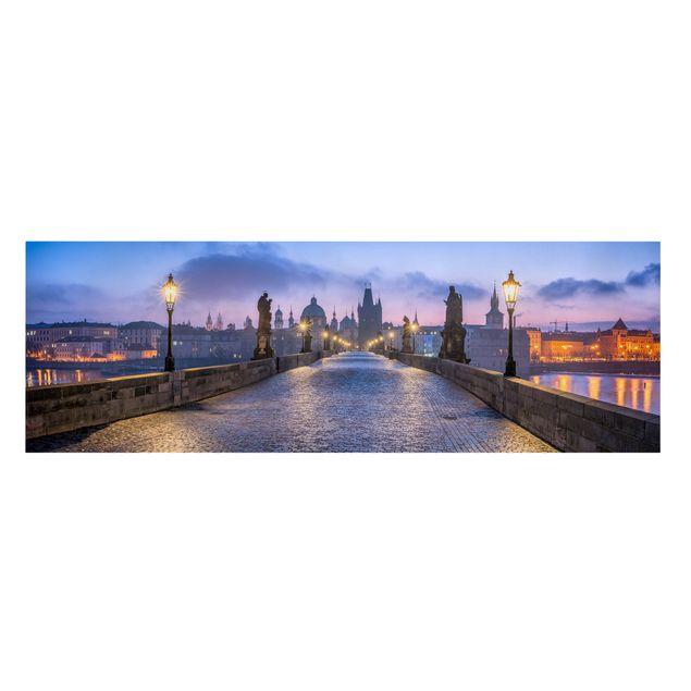 Leinwandbild - Karlsbrücke in Prag - Panorama 3:1
