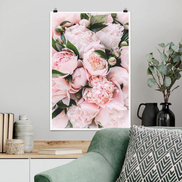 Poster - Rosa Pfingstrosen mit Blättern - Hochformat 3:2
