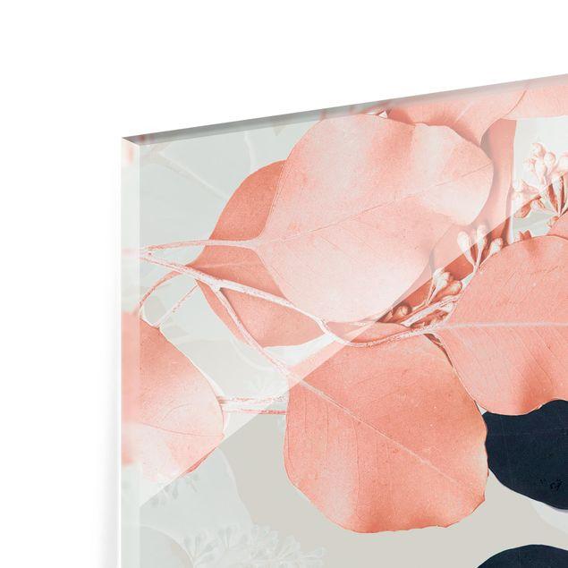 Glas Spritzschutz - Blätter Indigo & Rouge II - Querformat - 4:3
