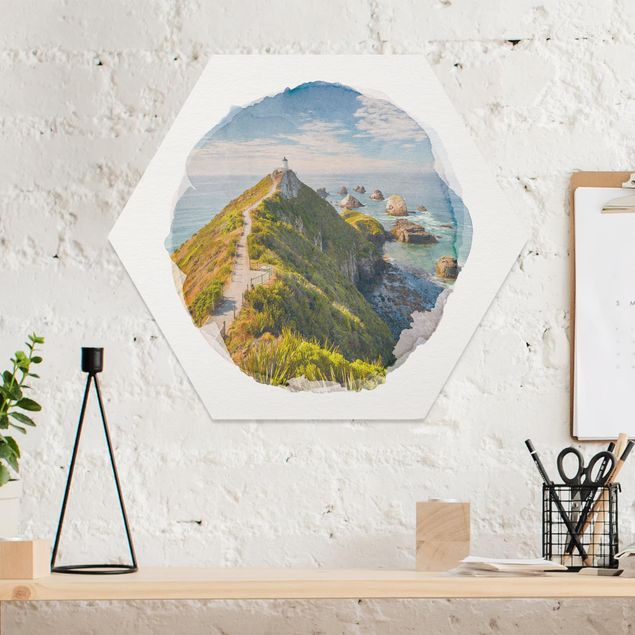 Hexagon Bild Forex - Wasserfarben - Nugget Point Leuchtturm und Meer Neuseeland