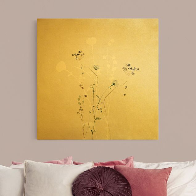 Leinwandbild Gold - Japanisches Ikebana II - Quadrat 1:1