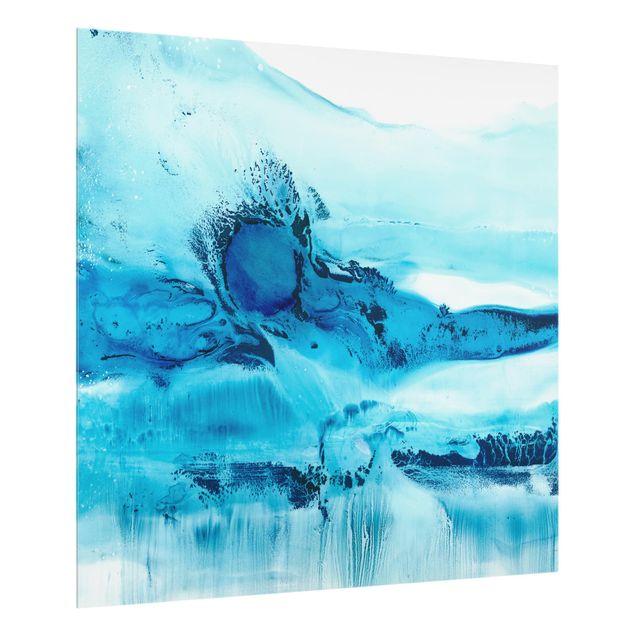 Glas Spritzschutz - Blaue Strömung II - Quadrat - 1:1