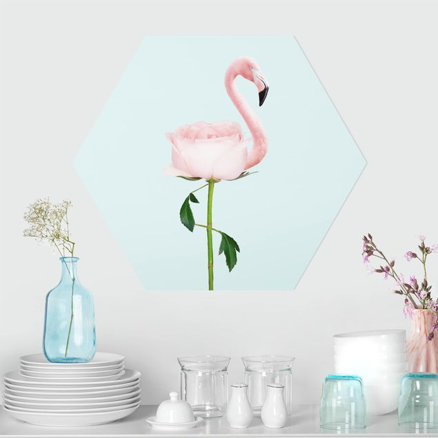 Hexagon Bild Forex - Jonas Loose - Flamingo mit Rose