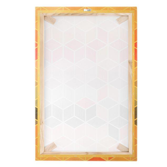 Leinwandbild Gold - Goldene Geometrie - Buntes Pastell - Hochformat 2:3