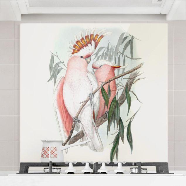 Glas Spritzschutz - Pastell Papageien I - Quadrat - 1:1