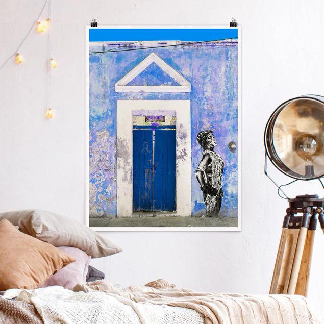Poster - Blauer Haupteingang - Hochformat 3:4