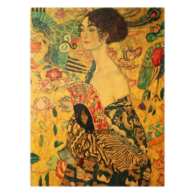 Leinwandbild Gold - Gustav Klimt - Dame mit Fächer - Hochformat 3:4