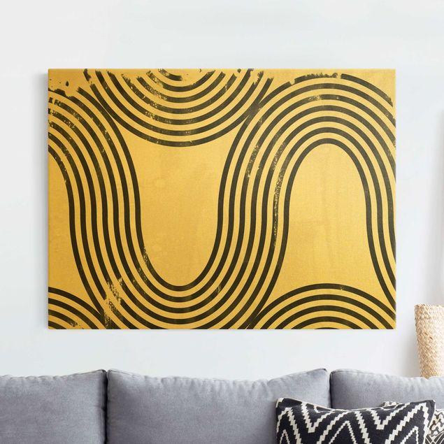 Leinwandbild Gold - Geometrische Wellen Schwarz Weiß II - Querformat 4:3