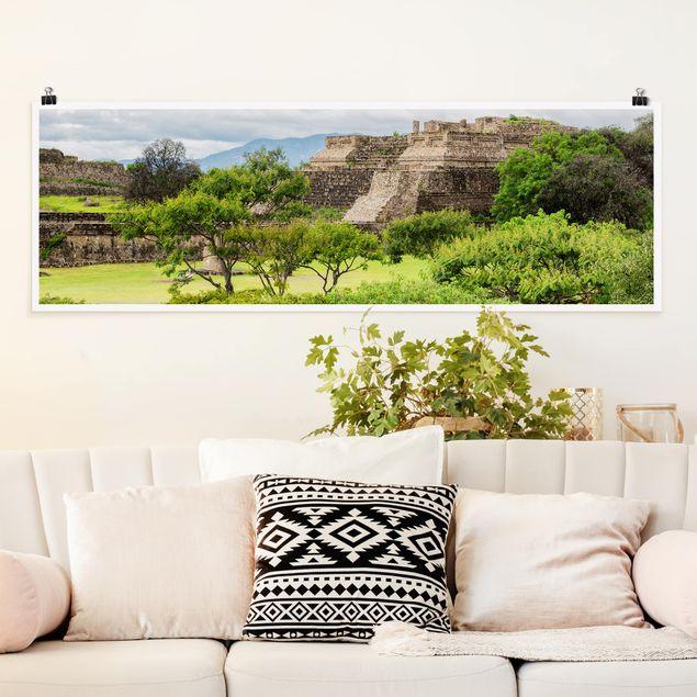 Poster - Pyramide von Monte Alban - Panorama Querformat