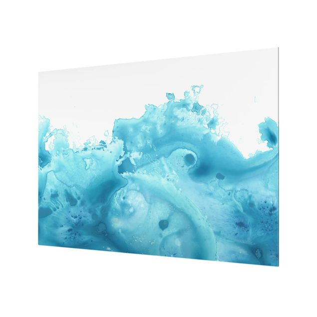Glas Spritzschutz - Welle Aquarell Türkis I - Querformat - 4:3