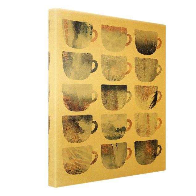 Leinwandbild Gold - Graue Kaffeetassen mit Gold - Hochformat 3:4