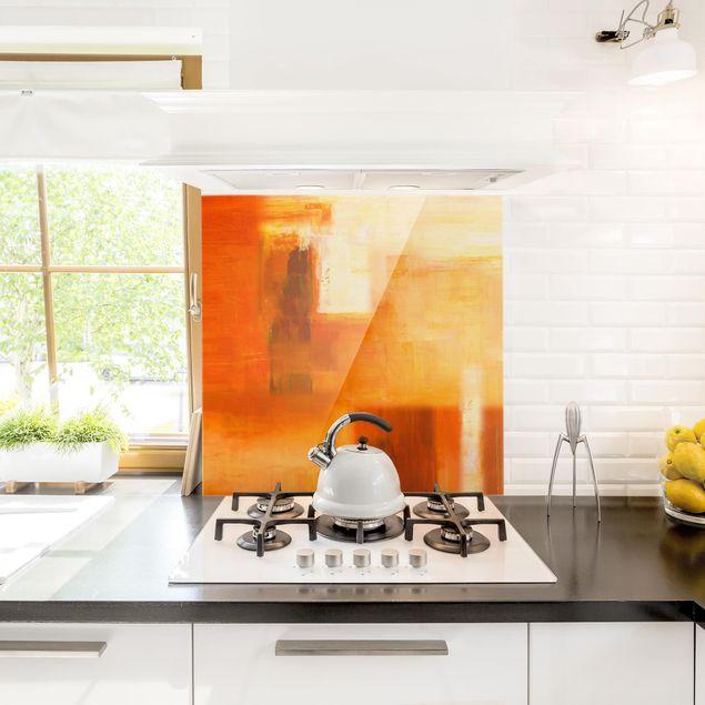 Glas Spritzschutz - Komposition in Orange und Braun 02 - Quadrat - 1:1