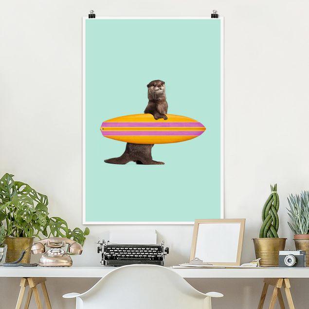 Poster - Jonas Loose - Otter mit Surfbrett - Hochformat 3:2