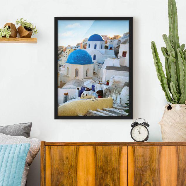 Bild mit Rahmen - Santorini - Hochformat 3:4