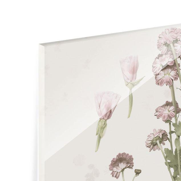Glas Spritzschutz - Herbarium in rosa I - Quadrat - 1:1