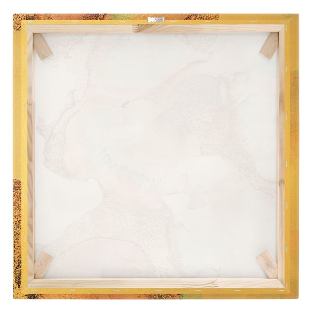 Leinwandbild Gold - Goldenes Aquarell Rosé - Quadrat 1:1