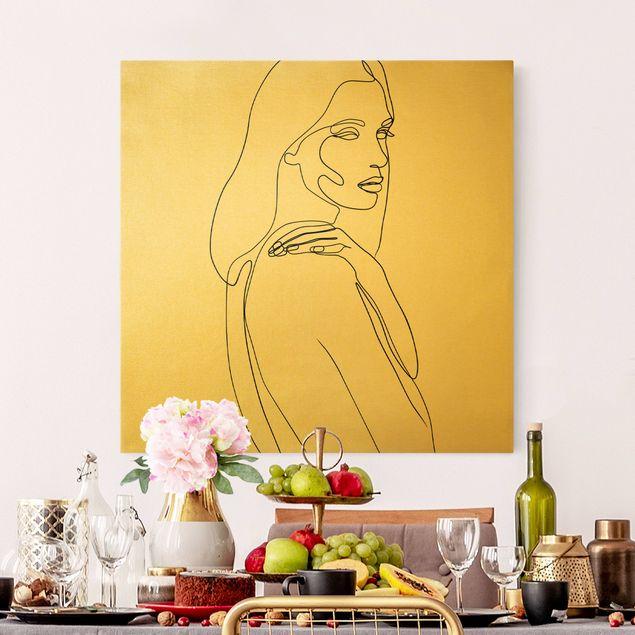 Leinwandbild Gold - Line Art Frau Schulter Schwarz Weiß - Quadrat 1:1