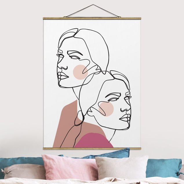 Stoffbild mit Posterleisten - Line Art Frauen Portrait Wangen Rosa - Hochformat 4:3