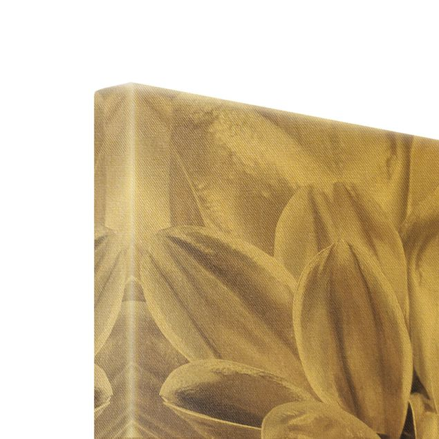Leinwandbild Gold - Bronzener Dahlientraum - Hochformat 2:3