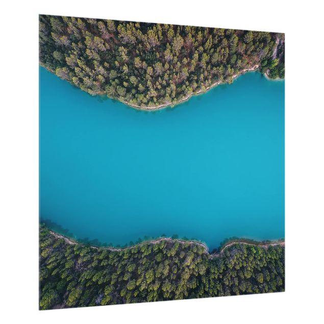 Glas Spritzschutz - Luftbild - Tiefblauer See - Quadrat - 1:1