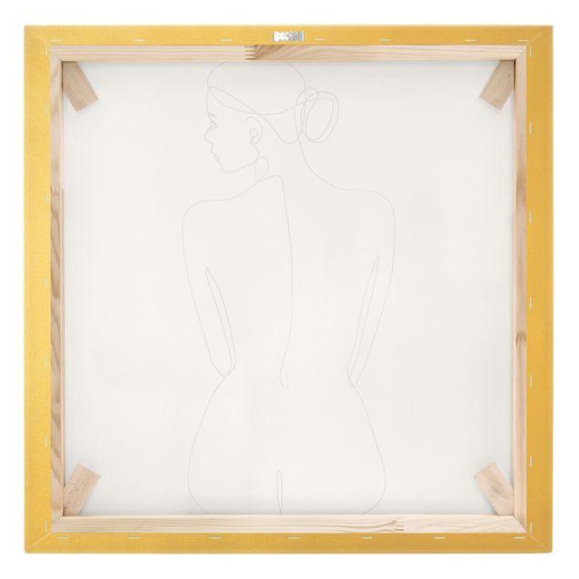 Leinwandbild Gold - Line Art Akt Frau Rücken Schwarz Weiß - Quadrat 1:1