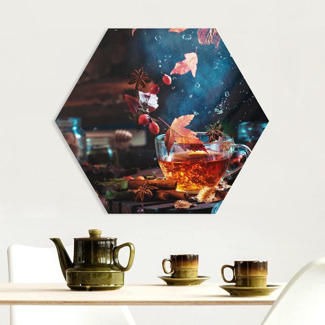 Hexagon Bild Forex - Teetasse im Herbst