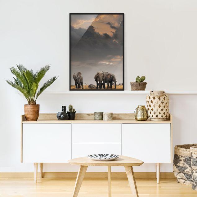 Bild mit Rahmen - Elefanten der Savanne - Hochformat 3:4