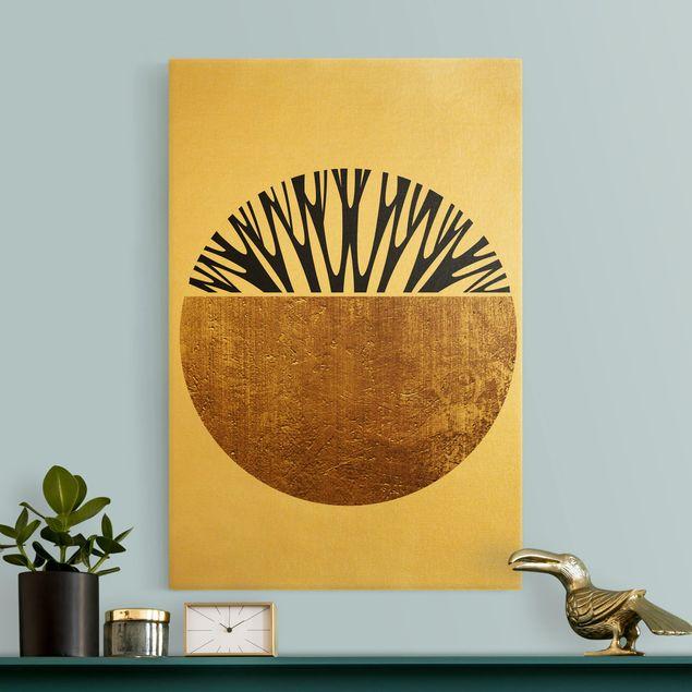 Leinwandbild Gold - Abstrakte Formen - Goldener Kreis - Hochformat 2:3