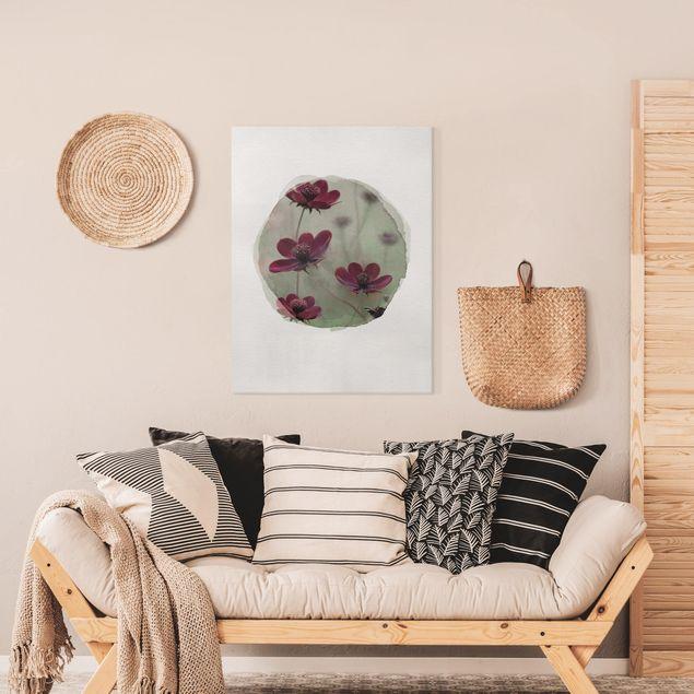 Leinwandbild - Wasserfarben - Pinke Kosmeen - Hochformat 4:3