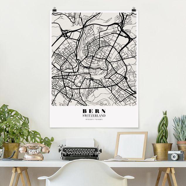 Poster - Stadtplan Bern - Klassik - Hochformat 3:4