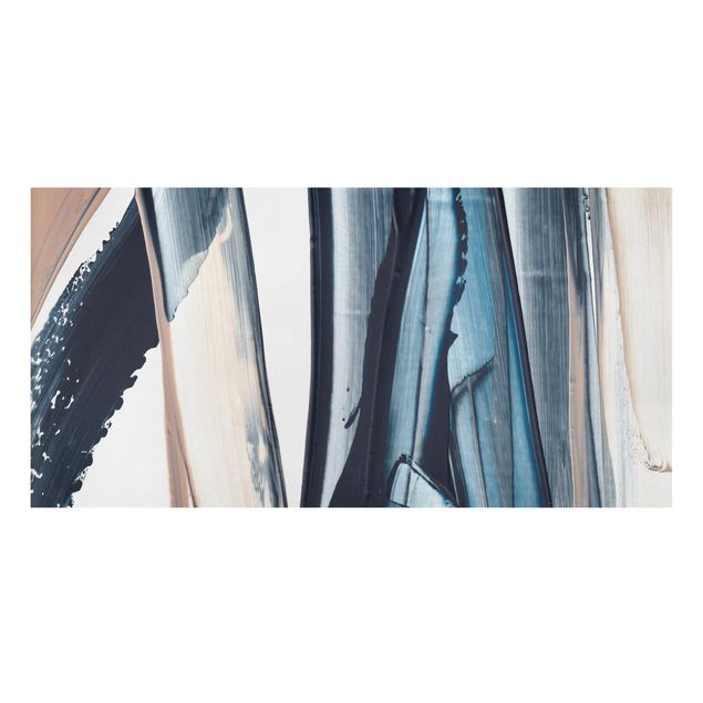 Leinwandbild - Blau und Beige Streifen - Querformat 2:1