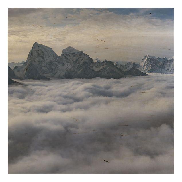 Holzbild - Wolkenmeer im Himalaya - Quadrat 1:1