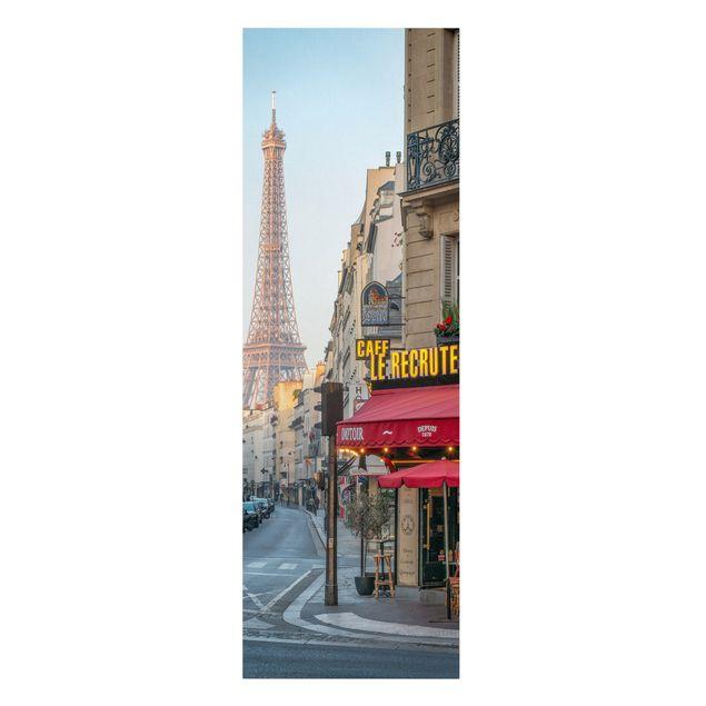 Leinwandbild - Straße von Paris - Panorama Hochformat 1:3