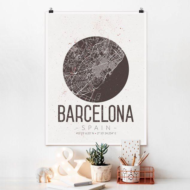 Poster - Stadtplan Barcelona - Retro - Hochformat 3:4