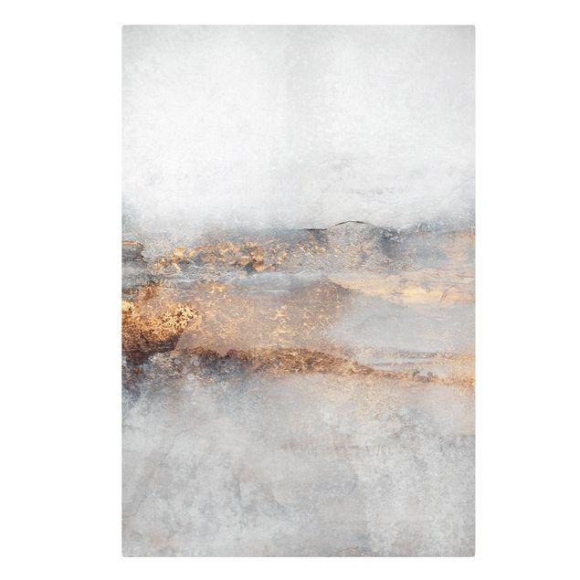 Leinwandbild - Elisabeth Fredriksson - Gold-Grauer Nebel - Hochformat 2:3
