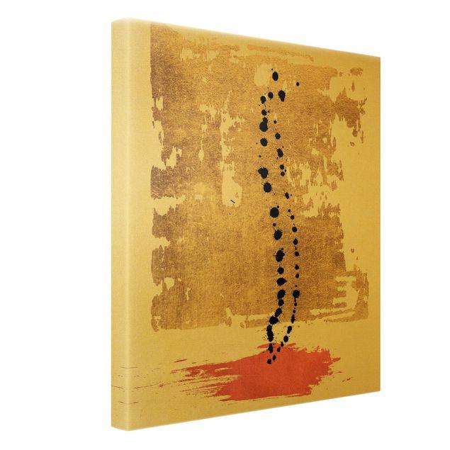 Leinwandbild Gold - Abstrakte Formen - Gold und Rosa - Hochformat 3:4
