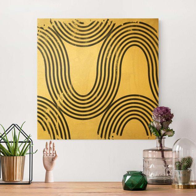 Leinwandbild Gold - Geometrische Wellen Schwarz Weiß II - Quadrat 1:1