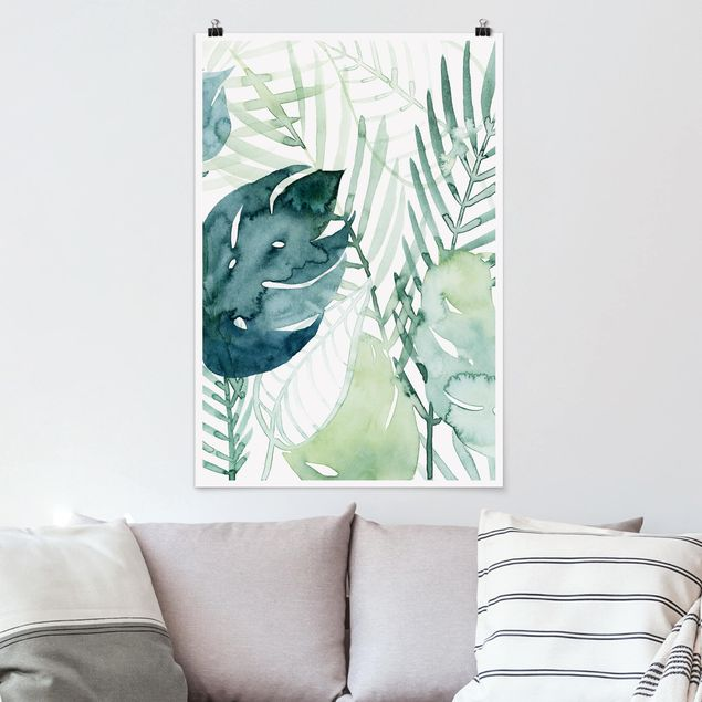 Poster - Palmwedel in Wasserfarbe I - Hochformat 3:2