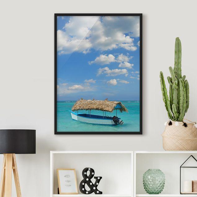 Bild mit Rahmen - Tropischer Strand - Hochformat 3:4