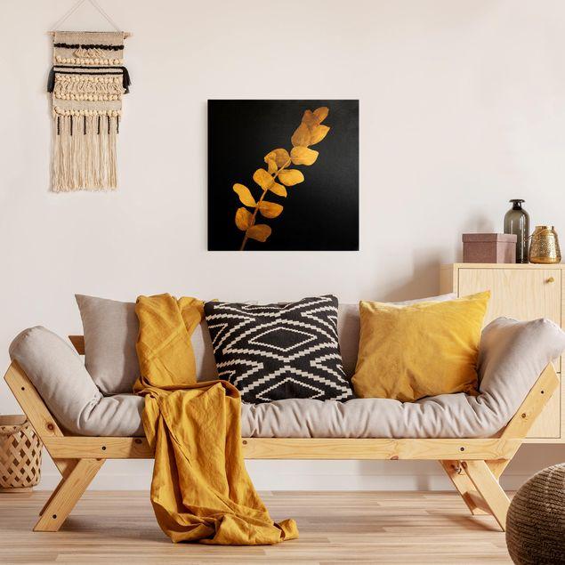Leinwandbild Gold - Gold - Eukalyptus auf Schwarz - Quadrat 1:1