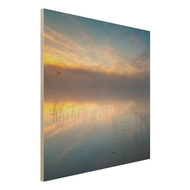 Holzbild - Sonnenaufgang schwedischer See - Quadrat 1:1