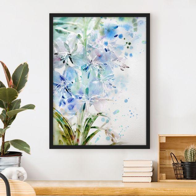 Bild mit Rahmen - Aquarell Blumen Lilien - Hochformat 3:4